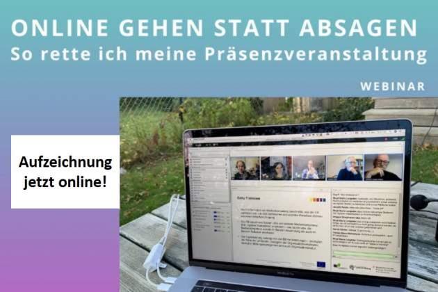 """Webinare """"Online gehen statt absagen"""" zum Nachschauen"""